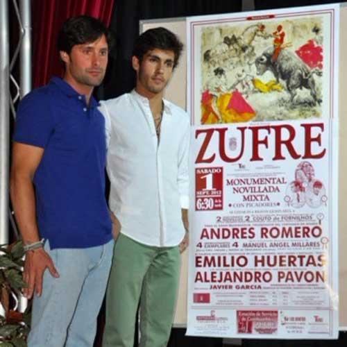 El rejoneador onubense Andrés Romero y el novillero sevillano Alejandro Pavón asistieron a la presentación.