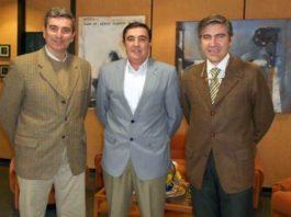 Carlos Pereda y Óscar Polo durante la reunión con Vicente Zarza.