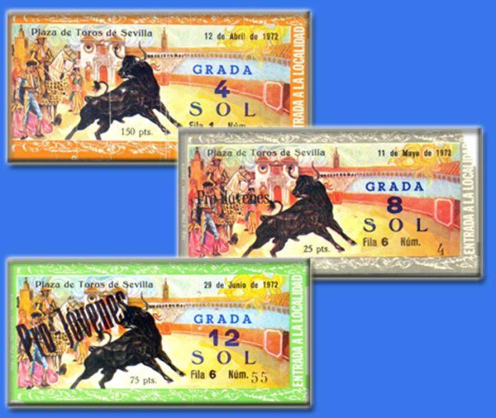 Ejemplos de entradas de distintos precios projóvenes del año 1972.
