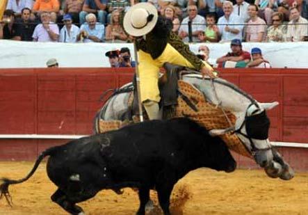 Tercio de varas del toro 'Arito' de Guardiola, en la corrida concurso de Valverde del año pasado.