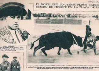 Recorte de prensa de un periódico de la época informando de la cornada mortal del torero onubense Pedro Carreño.