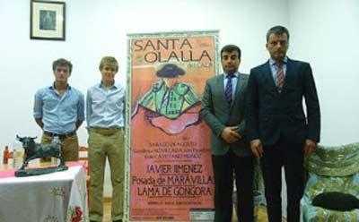 Lama de Góngora, Javier Jiménez, el alcalde de Santa Olalla del Cala y el empresario Jorge Buendía.