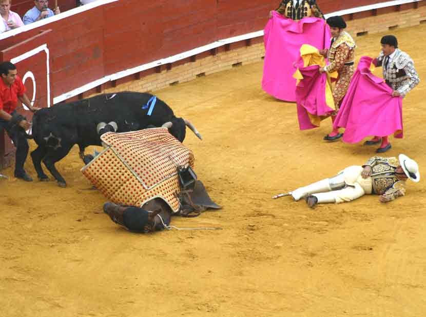 Espectacular derribo del picador sevillano Cristóbal Cruz en el primero toro del festejo.