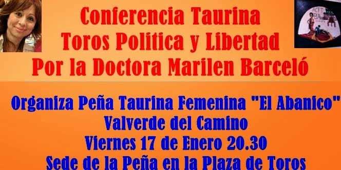 Cartel de la conferencia de la peña 'El Abanico' de Valverde.