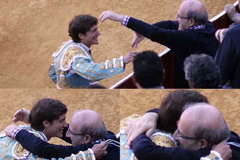 El abrazo del alcalde Pedro Rodríguez a Lama de Góngora.