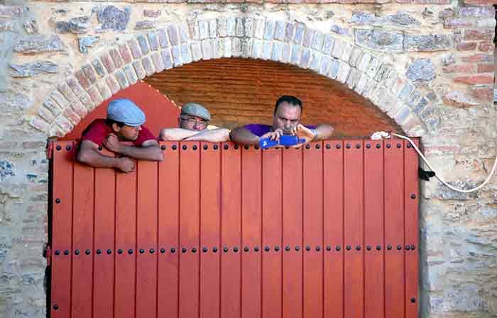 Los torileros descansando...