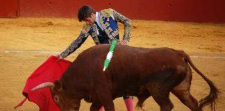 Emilio Silvera, toreando esta tarde en Alcalá del Río. (FOTO: Teresa Carreto)