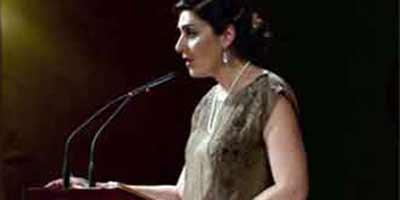 La periodista sevillana Lorena Muñoz, en un pregón taurino en Sevilla este mismo año.